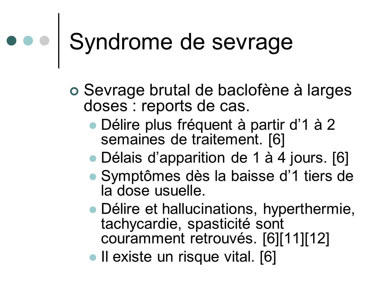 Syndrome de sevrage Sevrage brutal de baclofène à larges doses : reports de cas. Délire plus fréquent à partir d'1 à 2 semaines de traitement. [6]
